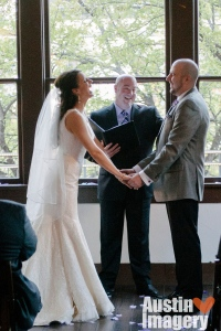 Austin Wedding Officiant Bride Groom at Parkside Restaurant